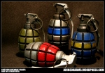 Resin Grenades - the center one has LED illumination